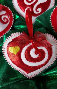 Felt heart ornaments-Handmade heart swirl by DebsArtsyEnchantment