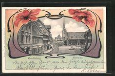 Alte Ansichtskarte: AK Quedlinburg, Marktplatz, gerahmt von Mohn und Ornamentik im Jugendstil