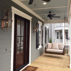 Beautiful Modern Farmhouse Exterior Design Ideas - Page 10 of 44 - Farida Decor House Paint Exterior, Exterior House Colors, Exterior Design, Front Porch Design, Garage Door Design, Porch Designs, Garage Doors, Front Porches, Closet Doors