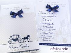 Convite 15 anos Carruagem / Castelo Cinderela. Orçamentos e pedidos pelo e-mail contato@efeitoearte.com.br