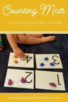 Teach your preschooler to count with this fun number activity. Use counting mats to help your child develop one to one correspondence, number sense, and number identification. Learning Numbers for Toddlers Numbers For Toddlers, Counting For Toddlers, Math Activities For Toddlers, Math For Kids, Preschool Learning, Learning Numbers Preschool, Number Sense Activities, Numbers Kindergarten, Preschool Themes