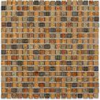 Splashback Tile Aztec Art Golden Halo 12 in. x 12 in. x 8 mm Glass Floor and Wall Tile, Multi