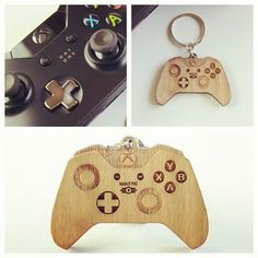 A miniature Xbox One controller keychain. Based on Vault-Tec from the Fallout series. Extremely detailed laser engraving and finished with a structure oil. Made using Cherry Plywood. Should we add this to our Etsy shop?  #vaulttec #etsy #xbox1 geekgear @fallout Link in bio