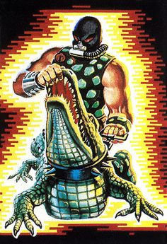 "Box art for Croc Master, a reptile trainer for Cobra that patrolled the swamps of Cobra Island, from the ""G.I.Joe"" line of toys"