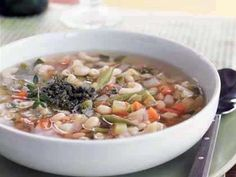 Vegetable Soup with Pistou   Navy beans, leeks, carrots, tomatoes, potatoes, and zucchini combine for a heart-healthy soup that takes the chill off a cold winter night. The flavorful topping is a basil pistou, a mixture similar to pesto minus the pine nuts.