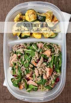 Orzo Power Salad with Salmon, Walnuts, and Greens. This delicious salad is a nutritional powerhouse! Part of the Healthy Week Lunch Series from EricasRecipes.com.
