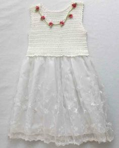 Roses and Lace Sundress for Girls Crochet Pattern