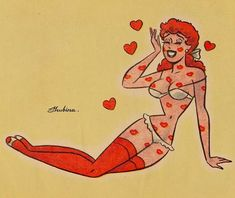 "Hope every day is a ""Valentine's Day"" for you ❤️ Cartoon Kunst, Comic Kunst, Cartoon Art, Cartoon Girls, Retro Kunst, Retro Art, Pinup Art, Vintage Comics, Vintage Art"