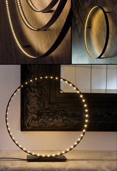 LED light by Le Deun Luminaires; use old bike wheels with strip or LED lights pushed through spoke holes.