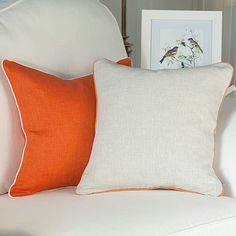 Orange Linen Cushion Cover With Piping