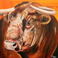 schilderij stier oranje rood bruin modern