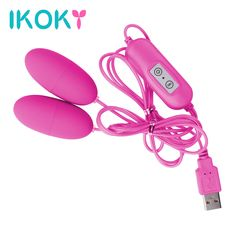 IKOKY Dual Vibrator 12 Frequency Vibrating Egg Clitoris Stimulator USB Adult Product Sex Toys For Women Female Masturbation