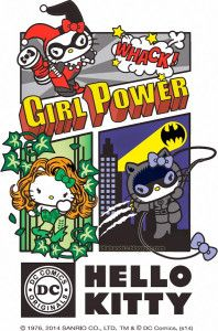 Hello Kitty/DC Comics Merchandise Mash-Ups Coming Next Year Sanrio has signed a deal with Warner Bros. Home Entertainment and DCE a new line launching next year which will have Hello Kitty dress up. Hello Kitty Fotos, Hello Kitty Gifts, Hello Kitty Art, Hello Kitty Pictures, Kitty Kitty, Mundo Comic, Bruce Timm, Batman, Hello Kitty Wallpaper