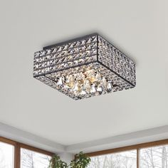 Light up your home with this Gisela Modern Square Crystal Flush Mount Chandelier in Antique Black. This 4 -light chandelier is made of iron and crystal and features a black finish that will enhance th. Ceiling Fan Chandelier, Ceiling Light Fixtures, Modern Chandelier, Ceiling Lights, Chandeliers, Square Chandelier, Ceiling Ideas, Ceiling Design, Bathroom Chandelier
