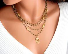 Hamsa collares Pirita piedra preciosa capa por divinitycollection