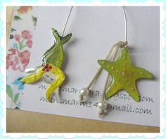 Mermaid & Starfish earrings by MARJewellery on Etsy, €16.00