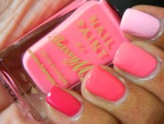 Ombre manicure with Wet N Wild Lady luck, Wet N Wild Dreamy poppy, Barry M Pink flamingo, and Wet N Wild Tickled pink
