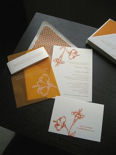 Heart the gocco'd invites, esp. the sheer top layer by ignafruit, via Flickr