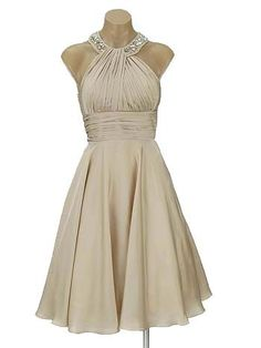 Jewel Neck Champagne Cocktail Dress, this would be perfect for the wedding ideas i have!