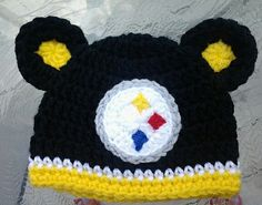 Crocheted Pittsburgh Steelers Hat by TinyTippyToppers on Etsy, $25.00