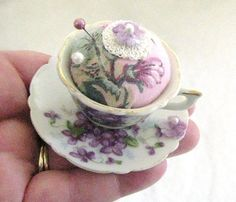 Teacup Pincushion  Vintage Teacup TEENY TINY by CharlotteStyle