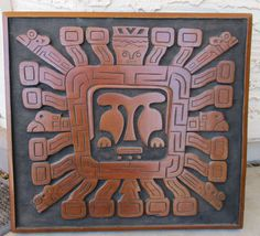 Vintage Aztec Mayan Relief Wood Carving Plaque by retrosideshow
