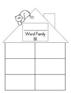 word family template...maybe write word with an illustration in each box.  Send home so families know what a Word Family is.