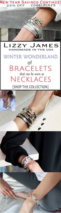 New Year Savings Continue! 25% OFF sale + FREE Shipping for all 1st time buyers with coupon code PIN25 - let Lizzy James Jewelry help you find your style this New Year! Featuring leather charm bracelets & cotton cord wrap bracelets that can also be worn as necklaces, our designs fit all wrist sizes from petite to plus size.  Proud to be made in the USA!  #lizzyjames