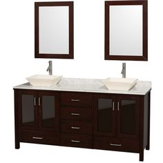 Wyndham Collection Lucy 72 inch Double Bathroom Vanity in Espresso, White Carrara Marble Countertop, Pyra Bone Porcelain Sinks, and 24 inch Mirrors * Want to know more, click on the image. (This is an affiliate link) #KitchenBathFixtures