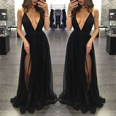 Sexy Prom Dress,Prom Dresses,Black Prom Dress,slit Prom Dresses,Sexy