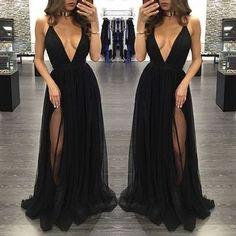 Sexy Prom Dress,Prom Dresses,Black Prom Dress,slit Prom Dresses,Sexy
