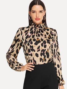 Shop Frilled Collar Keyhole Back Leopard Top online. SHEIN offers Frilled Collar Keyhole Back Leopard Top & more to fit your fashionable needs. Leopard Shirt, Leopard Print Top, Frill Tops, Fall Shirts, Types Of Sleeves, Blouse Designs, Shirt Blouses, Blouses For Women, How To Wear
