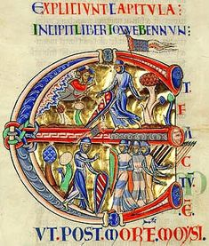 The Winchester Bible (f.69) : initial E from the opening of the Book of Joshua