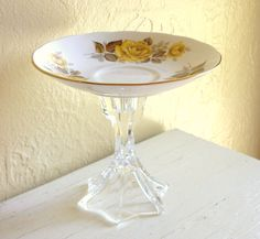Pedestal Trinket Dish Yellow Roses Upcycled Bone China Saucer. $12.00, via Etsy.
