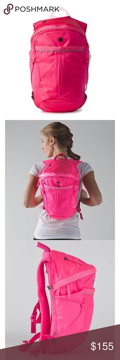 """Lululemon Neon Pink Run All Day Backpack Brand new with tags. Never worn. Sold out color. No flaws! This lightweight backpack is perfect for short runs, hikes or commutes to work. Fabric is water-repellent, durable, and easy to wipe clean. 360° REFLECTIVITY. Helps to keep you bright in low light. Holds your gear and prevent bounce on your commute. Internal pockets for a tablet. Zip pocket and removeable shoe bag for sweaty gear. 13L, tested to hold 22kg (50lb). 42cm x 24cm x 15cm (16.5"""" x…"""