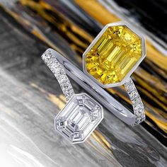 Pantoni. Invisibly set ring in yellow sapphires and white diamonds. Discover all the colors of our Muse-Pantoni collection. #stenzhorn