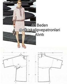 Dress Sewing Patterns, Sewing Patterns Free, Clothing Patterns, Batik Fashion, Fashion Sewing, Jacket Pattern, Top Pattern, Patron Vintage, Mode Chanel