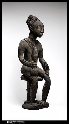 Commemorative figure of a chief Date: 19th century Geography: Cameroon, Grassfields region Culture: Bamileke peoples Medium: Wood Dimensions: H. x W. x D.: 38 x 13 x 11 1/2 in. (96.5 x 33 x 29.2 cm)