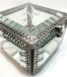 "Nicole Miller ""K"" Mirrored Glass Jewelry Box  Super cute square glass box…"