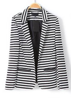 Black White Striped Notch Lapel Long Sleeve Blazer - Sheinside.com