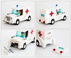 A vintage ambulance to go with this fire truck scene. Not based on any particular historical vehicle, just made up. For more photos, see the full set. Lego Ambulance, Brick Loft, Lego Construction, Lego War, Cool Lego, Lego Creations, Fire Trucks, Legos, Lego Vehicles