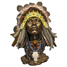 Running Buffalo Native American Figurine highly detail feather head piece.