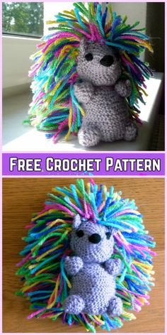 Crochet Hedgehog Punk Plush Toy Amigurumi Free Patterns