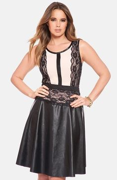 Free shipping and returns on ELOQUII Lace Detail Mixed Media Fit & Flare Dress (Plus Size) at Nordstrom.com. A lovely blend of contemporary and classic. Black lace panels soften the edgy allure of a mixed-media dress that pairs a blushing stretch-knit bodice with a supple faux-leather skirt in a traditionally flattering fit-and-flare silhouette.
