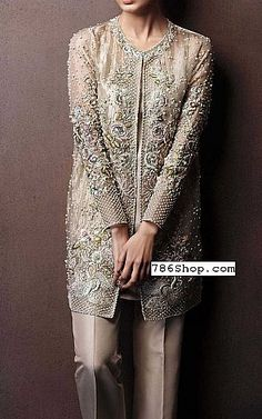 Light Golden Chiffon Suit | Buy Pakistani Fashion Party Dresses and Clothing Online in USA, UK