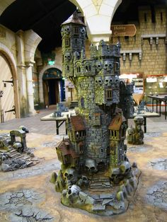 Rear view of a Castle Greyskull build for Warhammer Terrain 40k, Warhammer Terrain, Game Terrain, Wargaming Terrain, Warhammer Tabletop, Fantasy Castle, Fantasy House, Fantasy Map, Medieval Fantasy