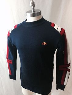 ellesse tennis sweater men's large vintage #80s navy blue red white great shape from $55.0