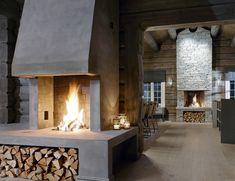 interiørarkitekt as scenario interiørarkitekter mnil Cabin Fireplace, Fireplace Design, Cabin Interiors, Rustic Interiors, Cabin Homes, Log Homes, Building A Cabin, Rustic House Plans, Log Home Decorating