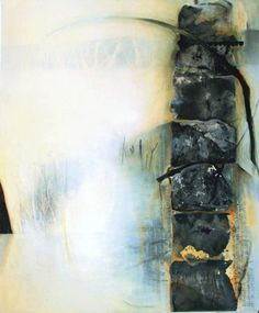 """Chiyomi Taneike Longo / """"White Passage no.79"""", charcoal/acrylic/oil/cold wax on canvas"""