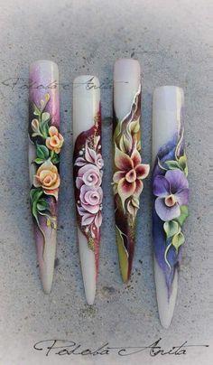 Nail art 3D flowers
